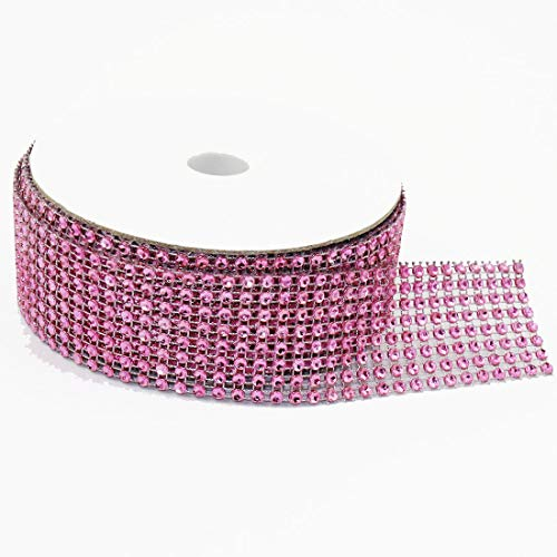 8 Rows 10 Yards 1.5 Inches 30 FT Sparkling Acrylic Rhinestone Ribbon Bling Diamond Mesh Wrap Trimming DIY Roll for Event Wedding Birthday Baby Shower Room Parties Crafts Projects (Pink) (Pink Rhinestones)