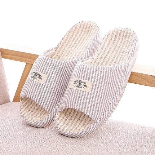 Ropa de cama de algodón de verano Zapatillas Zapatillas antideslizantes,Rosa 38 - 40 41 - 42 gris claro