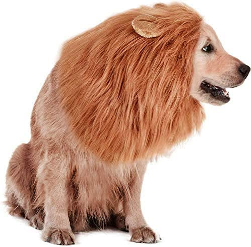 Rwm Dog Lion Mane Costume – Pet Wig Clothes for Halloween Party – Lion Wig for Medium to Large Sized Dogs Lion Mane Funny Dogs