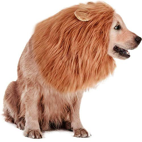 RWM Dog Lion Mane Costume for Large Dogs - Pet Wig Clothes for Halloween Party -