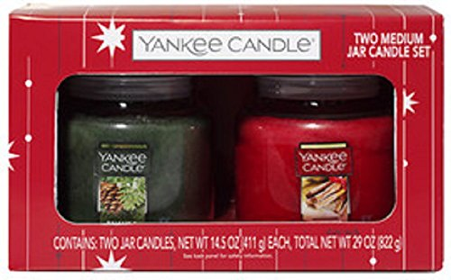Yankee Candle Holiday Candle 2 Pack Balsam & Cedar and Sparkling Cinnamon 14.5 Ounce Jar Candles