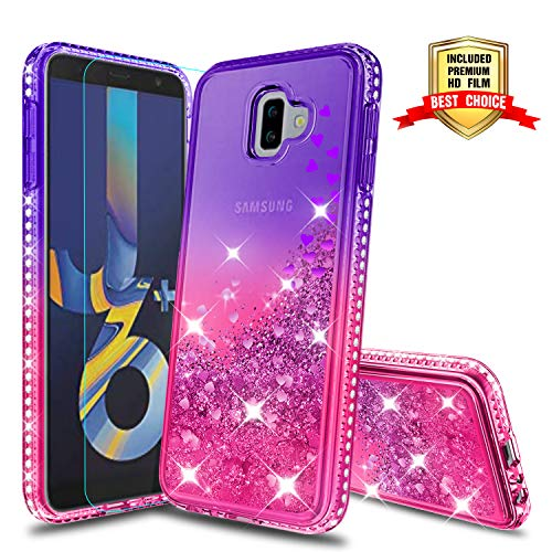J6 Prime Case,Galaxy J6 Plus Case, Galaxy J6+ Case, Atump Fun Glitter Liquid Sparkle Diamond Cute TPU Silicone Protective Phone Cover Case for Samsung Galaxy J6+ Purple/Rose