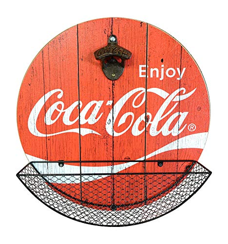 Officially Licensed Vintage Coca Cola Bottle Opener and Cap Catcher Wall Decor for Bar, Garage or Man Cave Antique Coca Cola Trays
