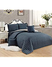 Compressed Two-Sided Color 6 Pieces Comforter Set, King Size, Dgr-Si, Microfiber