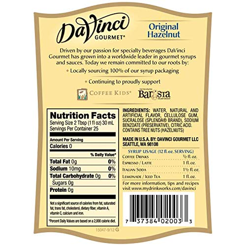 DaVinci Gourmet Hazelnut Syrup Sugar Free 25.4-Ounce Bottle