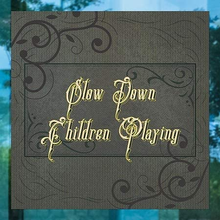 24x24 Stripes White Perforated Window Decal Slow Down Children Playing 5-Pack CGSignLab