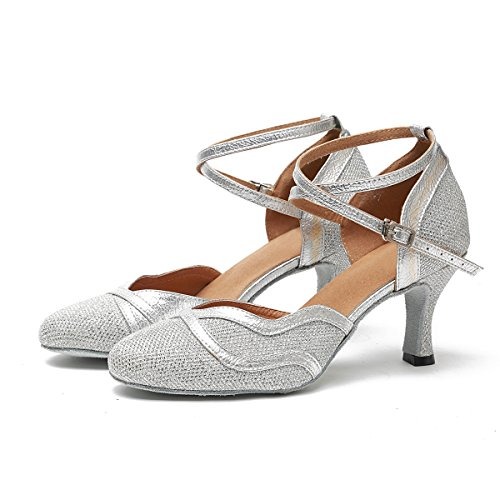 Latin Shoes Ballroom Argent Dancing 5cm Talon Glitter Talons Party Femmes 7 wqBPWf4
