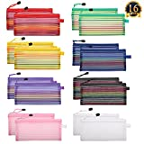 SUBANG 16 Pack A6 Size Zipper Mesh Pouch Multipurpose Travel Bags for The Collection of Office and Personal Supplies, 8 Colors