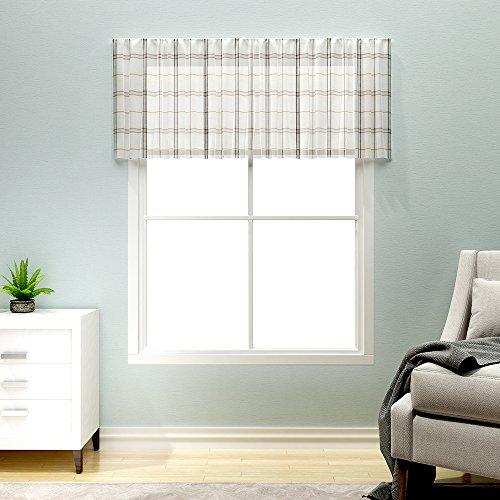 Geometry Valances for Windows White, Linen Look Black and Taupe Gingham Half Window Kitchen Curtains,1 pc 18