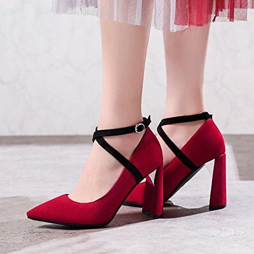 Mee Shoes Damen High Heels Spitz Schnalle Pumps Rot
