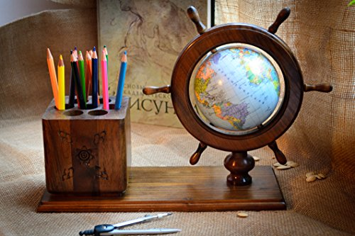Globe with pen and pencil holder