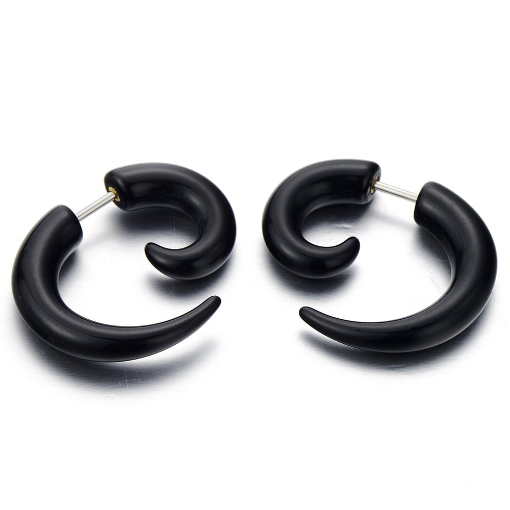 5-8MM Mens Black Horn Claw Stud Earrings Cheater Fake Ear Plugs Gauges Illusion Tunnel, 2pcs(CA) COOLSTEELANDBEYOND ME-146-05-CA