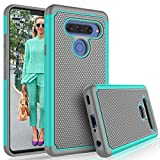 LG V40 Case, LG V40 Thinq / V40 Storm Case, Tekcoo [Tmajor] Shock Absorbing [Turquoise] Rubber Silicone & Plastic Scratch Resistant Bumper Grip Rugged Cute Sturdy Hard Phone Cases Cover