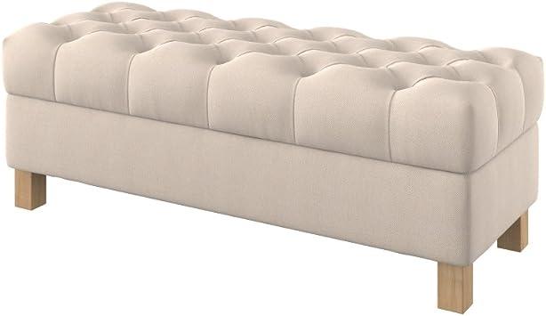 Furninero 120 cm breit, tiefer gepolsterter Sitzbank Sitzhocker Sitzruhe Betthocker Ottomane mit Stauraum quadratische Beine, Nordic Creme Stoff,