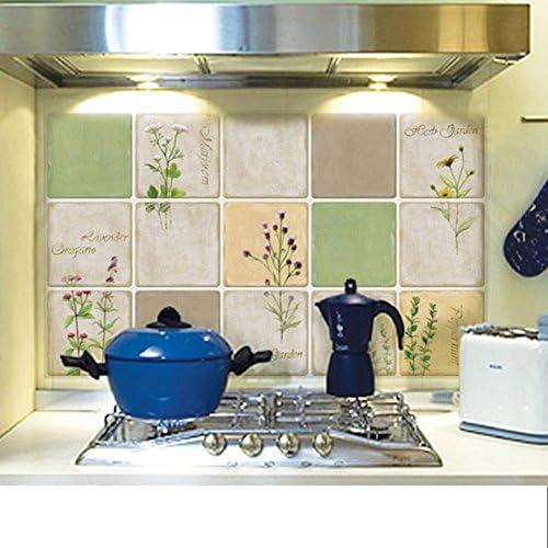 SS&LL Etiquetas Engomadas del Azulejo De Alta Temperatura,Impermeable De Fácil Limpieza Adhesivos Pegatinas Jardín Creativo Pegatinas De Aceite De Cocina Extraíble-a 70x42cm(28x17inch): Amazon.es: Hogar