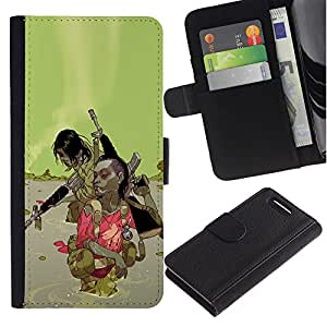 KingStore / Leather Etui en cuir / Sony Xperia Z1 Compact D5503 / Green Abstract War Machine Pistola
