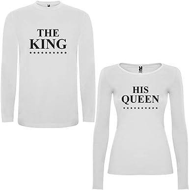 Pack de 2 Camisetas Blancas Manga Larga para Parejas The King y His Queen Negro: Amazon.es: Ropa y accesorios