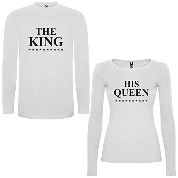 Pack de 2 Camisetas Blancas Manga Larga para Parejas The King y His Queen Negro (