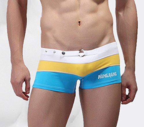 Koson-Man Men's Summer Stretch Buckle Swimwear Strips Swimming Trunks (LakeBlue Size L)