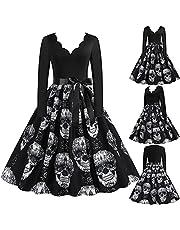 IKFIVQD 2021 Halloween långärmad vintage cocktailparty klänningar, dam A-linje swingklänning halloween kostymer klänning