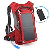 Ivation Solar Survival Backpack, Hydration Bladder Bag, Waterproof Power Bank, Dual Smart Phone Tablet Charging Ports