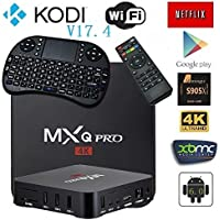 [2018 MODEL] KD V17.4 MXQ PRO Android 6.0 TV BOX 4K/64Bit/1+8GB/2.4G/5G Wifi/ UHD 4K/Full HD/H.265+Mini Wireless Keyboard