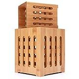 Well Weng Large Bamboo Utensil Holder 2 Pack Utensil Crocks Flatware Organizer (5.7x7 | 4x5.5)