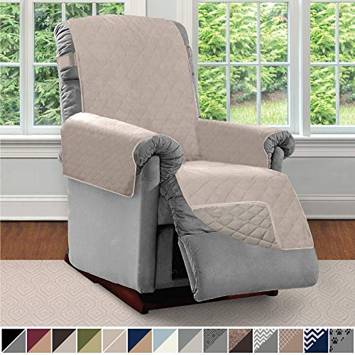 No Arm Recliner Chair - Sofa Shield Original Patent Pending Reversible Recliner Slipcover, 2 Inch Strap Hook Seat Width to 25 Inch Washable Slip Cover Furniture Protector for Recliners, Small Recliner, Lt Taupe Lt Taupe