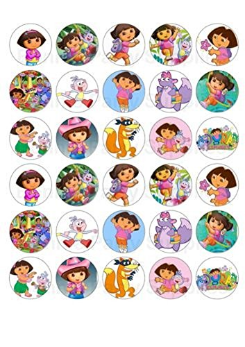 30 x Dora the Explorer Edible Rice Wafer Cupcake Toppers -  Unbranded