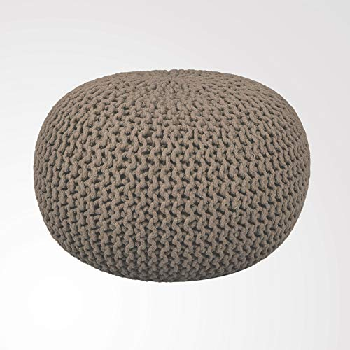 RAJRANG Cotton Braided Cord Stuffed Ottoman Large   23 X 16 Inch   Hand Knit Modern Floor Pouf Round Footstool Home Decorative Small Space Patio Seati