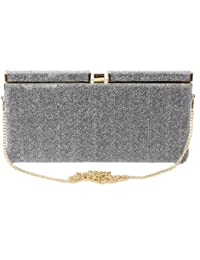 61155 Nila Anthony Glitter hardcase box clutch (Silver)