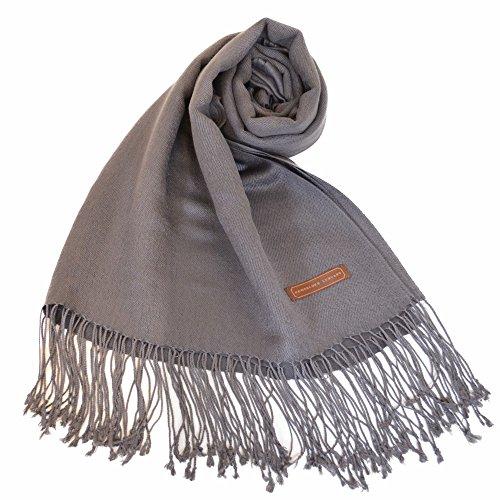 Shawl Silk New Scarf (NEW COLORS Women's Luxury Silk Wool Twill Pashmina Shawl / Wrap (One Size, Dark Gray))