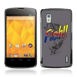 CQ Tech Phone Accessory: Carcasa Trasera Rigida Aluminio para LG Nexus 4 E960 - Cool Bass Fish Illustration