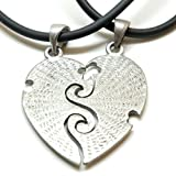 """BIG SIS LIL SIS II Split Heart Pewter Pendant Choker + 2x 18"""" PVC Necklaces Lobster Clap Lock Black For Valentine's day"""