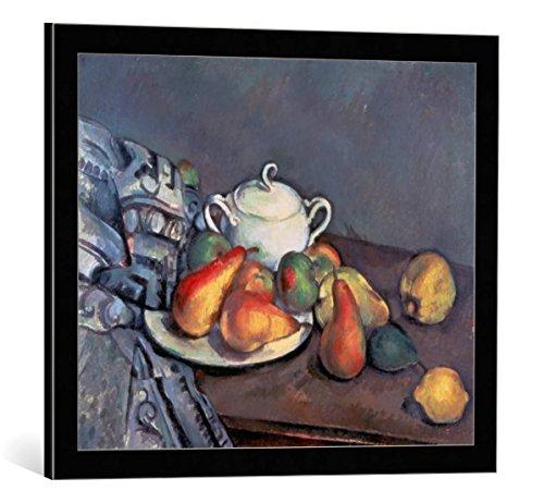 kunst für alle Framed Art Print: Paul Cézanne Stilleben mit Zuckerdose Birnen und Tischdecke - Decorative Fine Art Poster, Picture with Frame, 23.6x19.7 inch / 60x50 cm, Black/Edge Grey