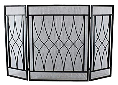 3 Panel Wrought Iron Fireplace Screen Outdoor Metal Decorative Mesh Cover Solid Baby Safe Proof Fire
