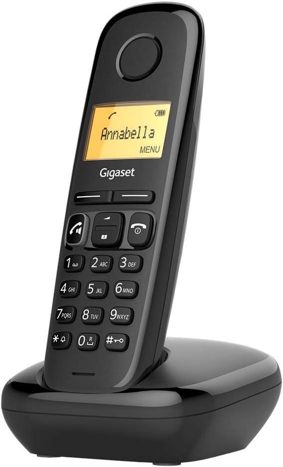 Gigaset A270 - Teléfono fijo inalámbrico para casa manos libres, gran pantalla iluminada, agenda 80 contactos, color negro: Gigaset: Amazon.es: Electrónica