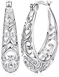 Milacolato Sterling Silver Hoop Earrings Textured Filigree Round Earrings for Women