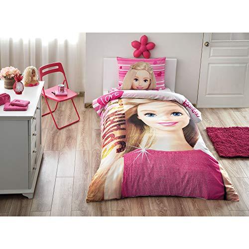 (Single Twin Kids Girls Original Licensed Barbie Sparkle 100% Cotton Soft Healthy Duvet Cover Bedding Set 3 Pcs )