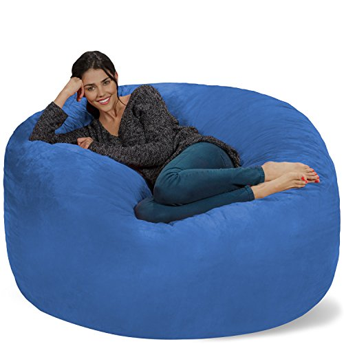 Chill Sack Bean Bag Chair: Giant 5' Memory Foam Furniture Bean Bag - Big Sofa with Soft Micro Fiber Cover - Royal Blue -