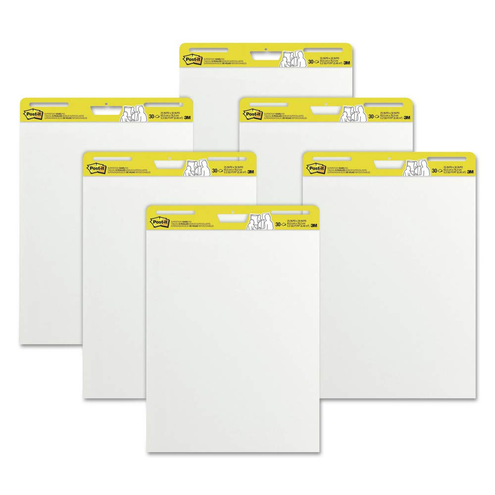 Post-it Easel Pads Super Sticky 559 VAD 6PK Self Stick Easel Pads, 25 X 30, White, 6 30 Sheet Pads/carton by Post-it Easel Pads Super Sticky