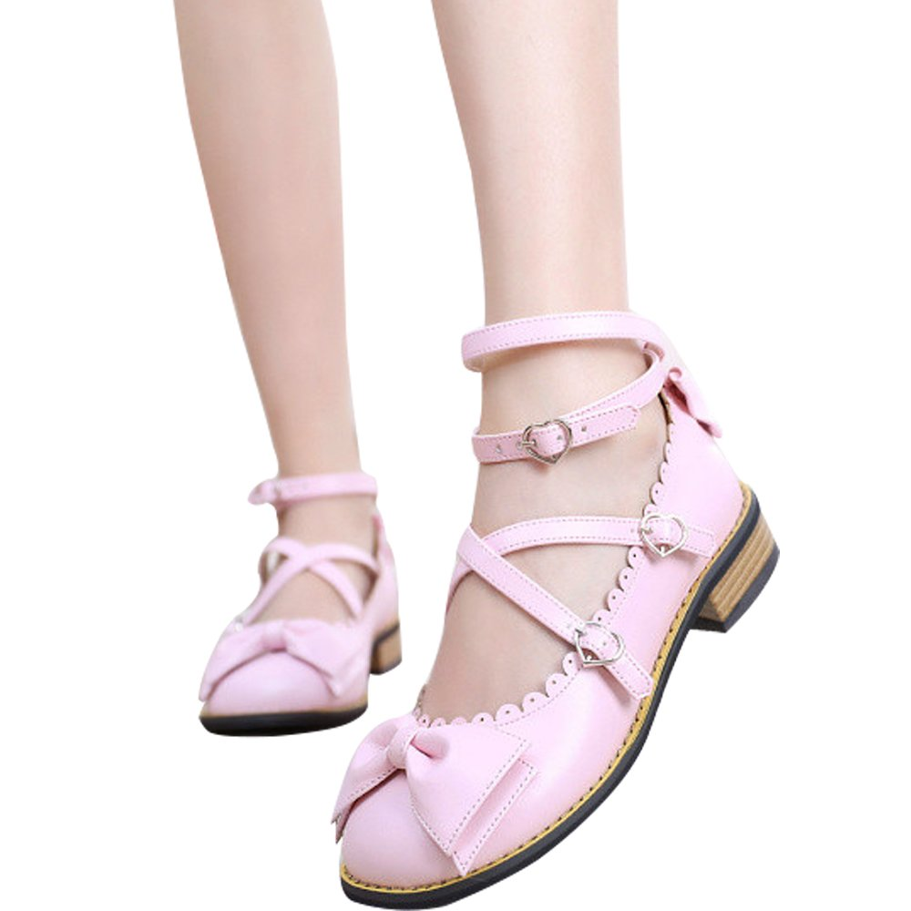 Japanese Sweet Lolita Low Chunky Heels Round Toe Bowtie Strappy Princess Shoes B06XC3YC6H 5.5 M US|Pink