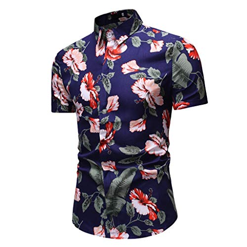 JJLIKER Men's Slim Fit Short Sleeve Polo Shirt Floral Printed Casual Hawaiian Aloha Casual Vintage Button Down Tee Dark Blue