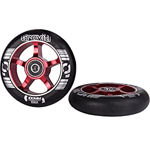 GRAVITI One Pair 100mm Pro Stunt Scooter Wheels Metal Core with ABEC-9 Bearings(2pcs)(Red)
