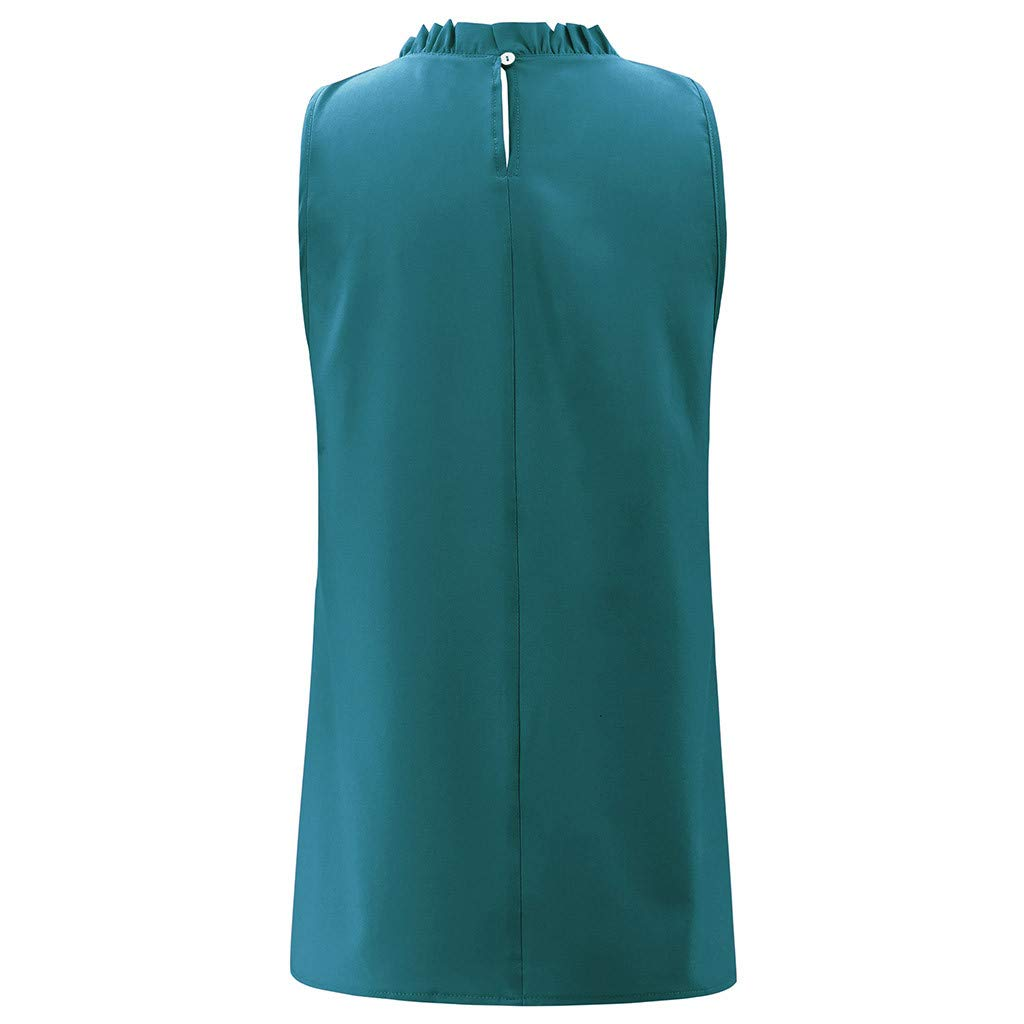 Shirts Tops Kangma Women Loose Blouse High Neck Sleeveless Solid Color T