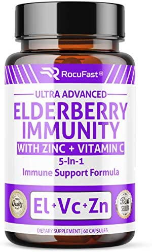 Sambucus Elderberry Capsules for Immune Support Booster Organic w Zinc Vitamin C Echinacea Extract Garlic Infused Supplement Pills for Kids, Adults, Toddlers, and Elderly