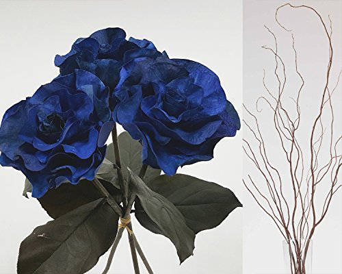 GreenFloralCrafts Curly Willow and Burmese Roses- Royal Blue (Royal Blue Willow)