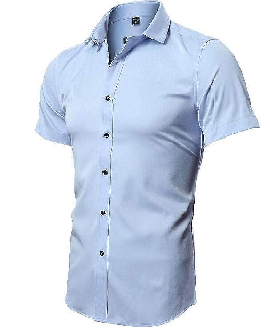 SELX Men Solid Casual Business Dress Shirt Short Sleeve Button Down Shirt