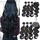 Usheen Hair Bundles with Closure Body Wave Brazilian Virgin Hair with Closure Human Hair Bundles with Closure Crochet Lace Closure with Bundles Free Part 18 20 22 with 18 Closure Soft