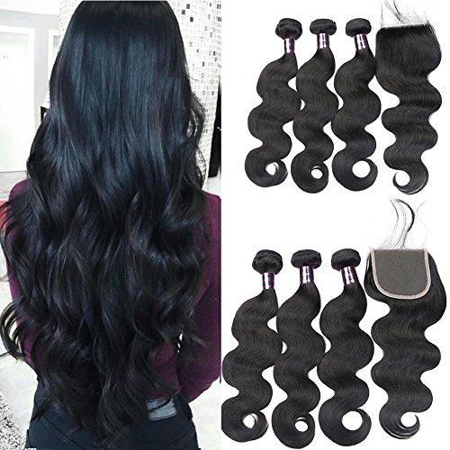 Usheen Hair Bundles with Closure Body Wave Brazilian Virgin Hair with Closure Human Hair Bundles with Closure Crochet Lace Closure with Bundles Free Part 18 20 22 with 18 Closure Soft by Usheen Hair